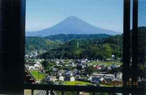 We see Mount Fuji from room