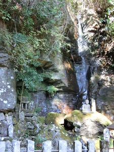 Waterfall (aunnotaki) of Shuzenji Okuno-in Temple inspiration and expiration
